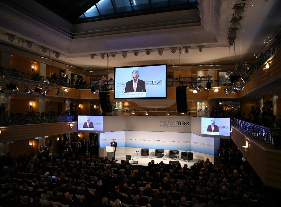 US Secretary of Defence Jim Mattis addresses opening session of the Munich Security Conference on Friday