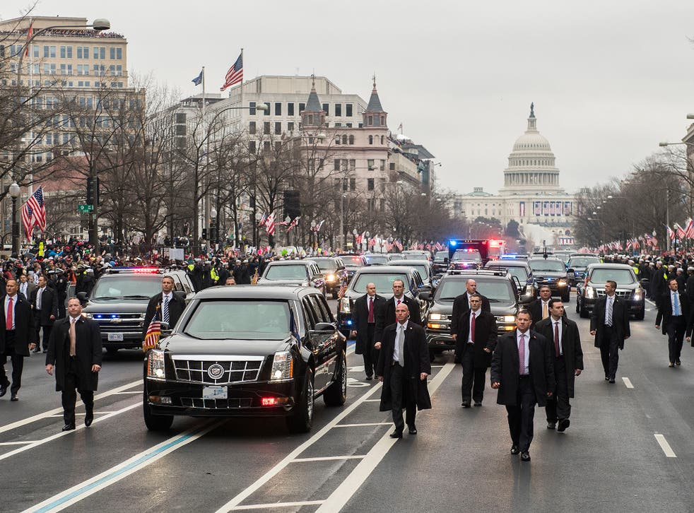 Secret services are investigating after an object was thrown at one of the vehicles in Donald Trump's motorcade