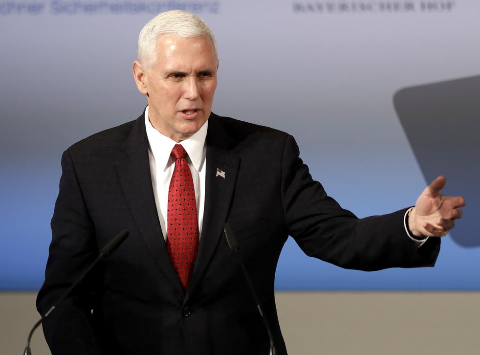 Mr Pence told the Munich Security Conference that the Trump administration 'strongly supports' the international military organisation, despite Donald Trump having formerly described the alliance as 'obsolete'