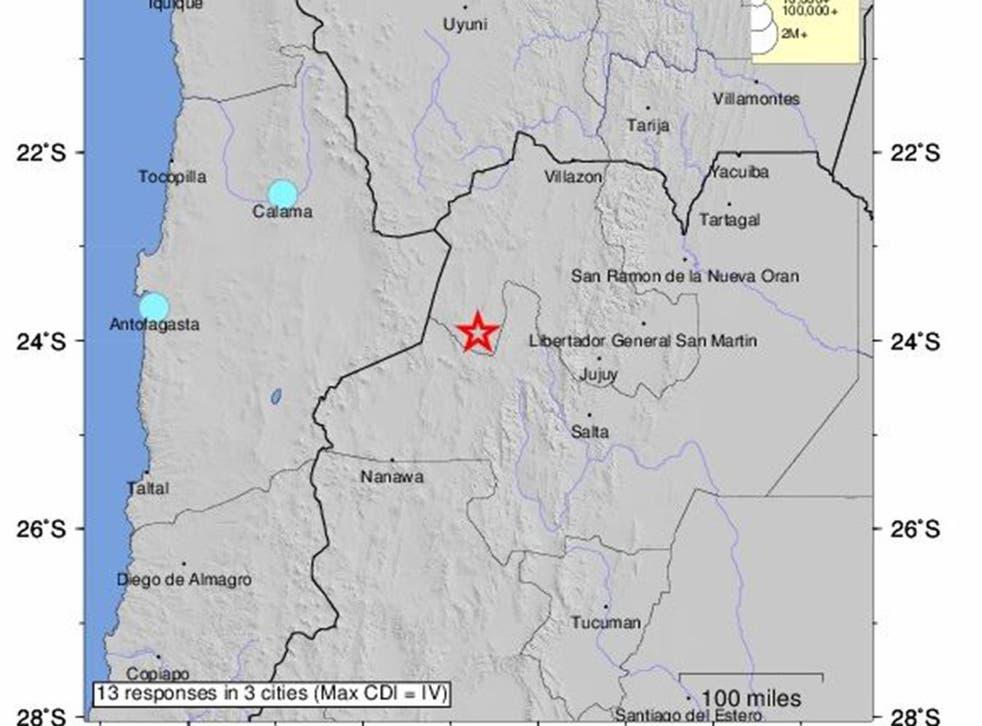 The quake struck in the north west corner of the country near San Antonio de los Cobres