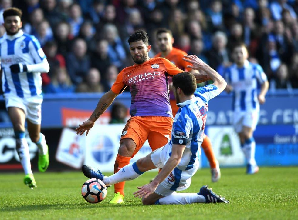 Sergio Aguero was unable to break down Huddersfield's stubborn resistance