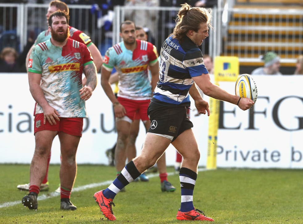 Max Clark celebrates after scoring for Bath
