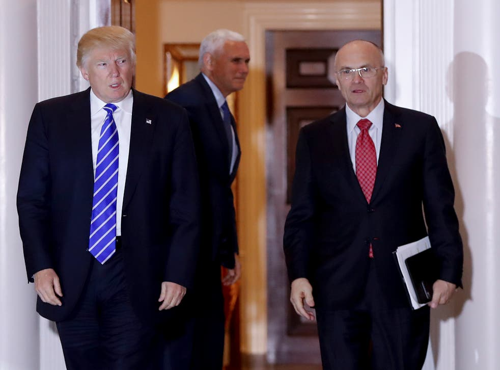 Donald Trump with Andrew Puzder, one of several Presidential nominees to have withdrawn from consideration or resigned in recent days