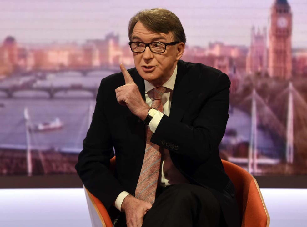 Former EU Trade Commissioner Lord Mandelson said the EU's offer of the possibility of a comprehensive free trade agreement was an 'olive branch' on their part
