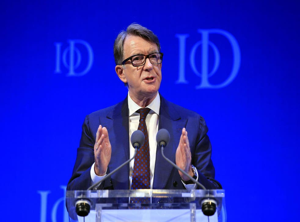Lord Mandelson, speaking at a separate event yesterday