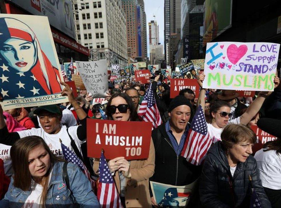 Protesters in New York demonstrate against President Trump's hostile stance towards Muslims