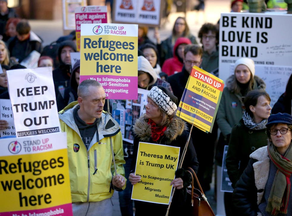 A rally in Glasgow protesting against Donald Trump