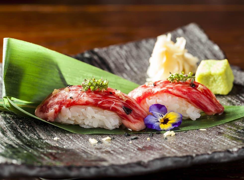 A kobe nigiri from Sushisamba in London – sushi's been around since the time of the samurai