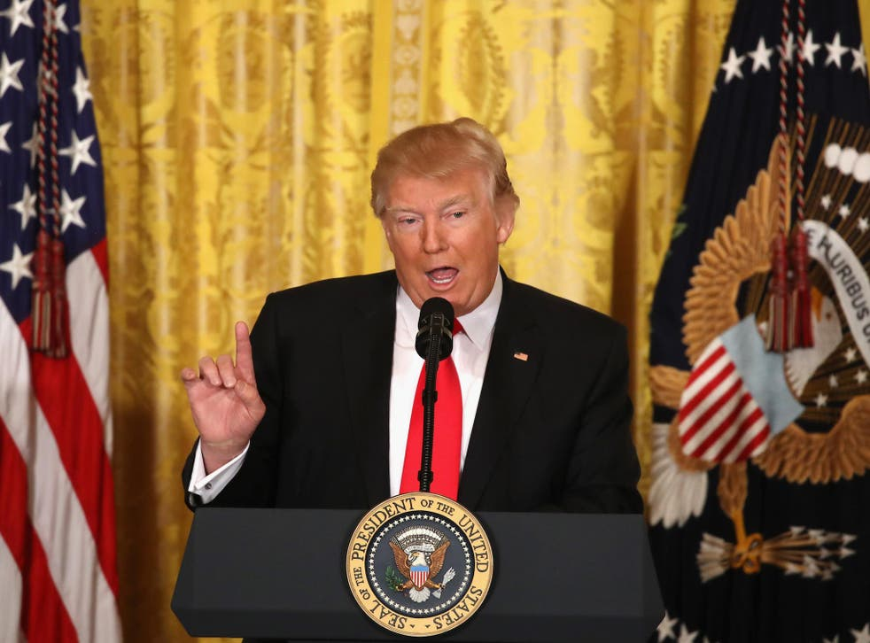U.S. President Donald Trump speaks during a news conference announcing Alexander Acosta as the new Labor Secretary nominee