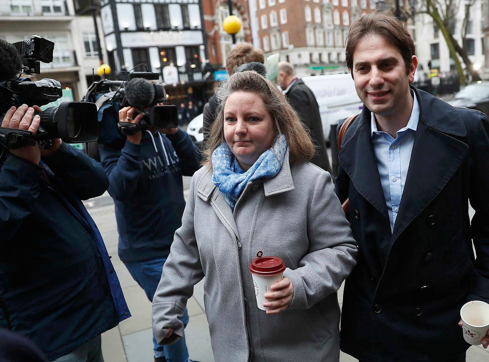 Charles Keidan and Rebecca Steinfeld outside the Royal Courts of Justice in London, where they fought to have their six-year relationship legally-recognised