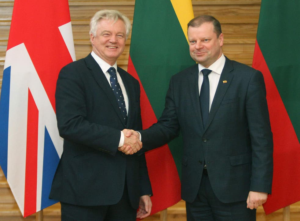 Brexit Minister David Davis shakes hands with Lithuania Prime Minister Saulius Skvernelis in Vilnius on Tuesday