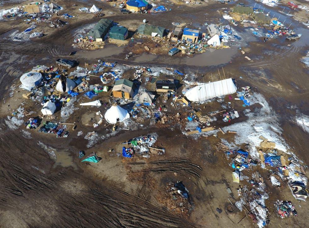 The Oceti Sakowin protest camp near the site of the Dakota Access pipeline in Cannon Ball, North Dakota