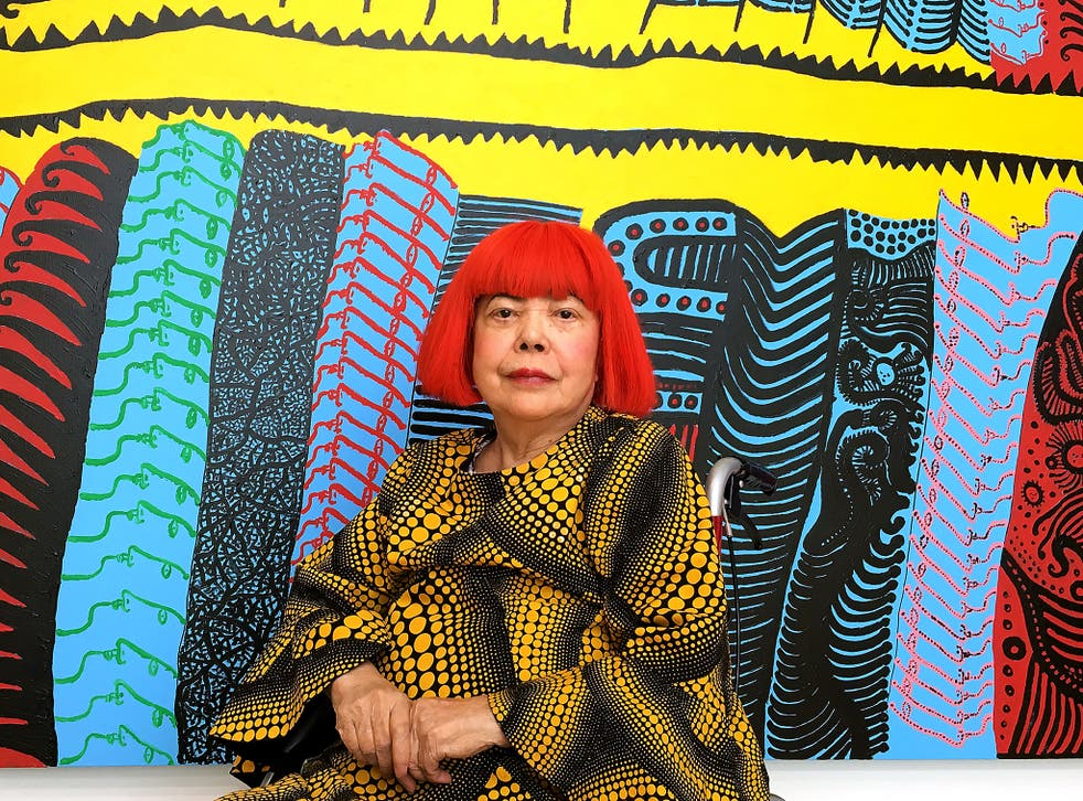 Avant-garde Japanese artist Yayoi Kusama with recent works at her new museum in Tokyo