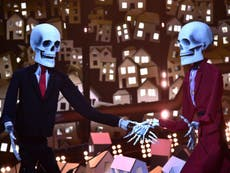 Trump and May portrayed as dancing skeletons in Brits performance