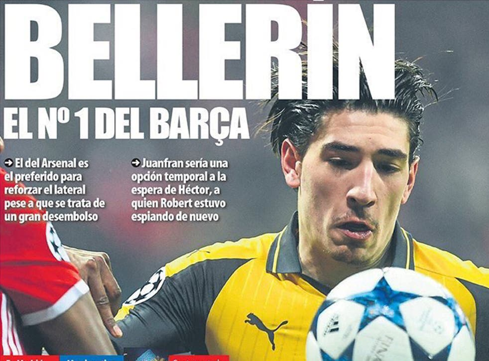 Bellerin featured on the front page of Mundo Deportivo