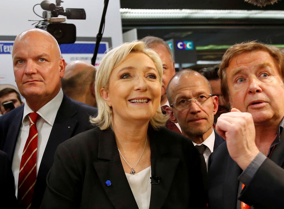 Marine Le Pen, French National Front (FN) political party leader and candidate for French 2017 presidential election, visits the Salon des Entrepreneurs in Paris