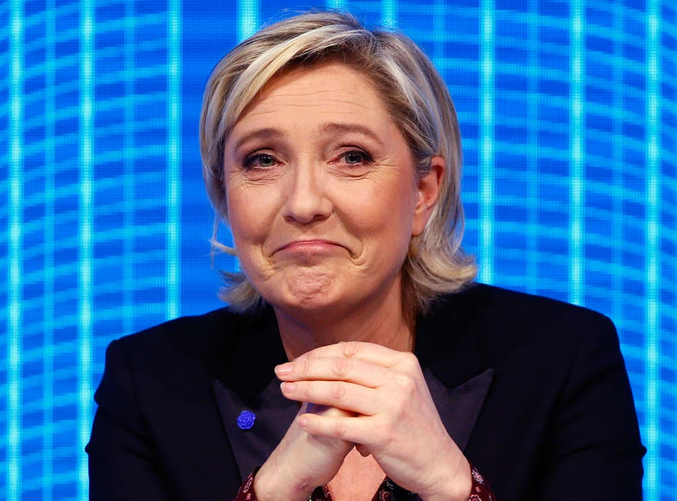 Marine Le Pen, French far-right 2017 presidential candidate of the Front National party, at a debate in Paris