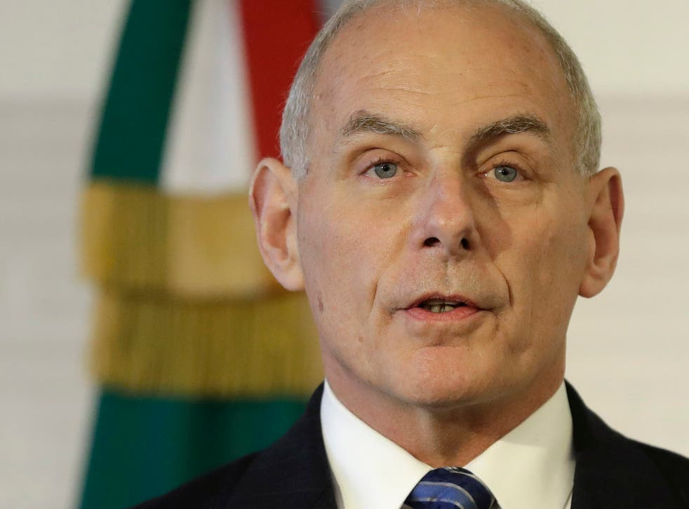 US Homeland Security Secretary John Kelly at a joint statement to the press by US and Mexican officials in Mexico City