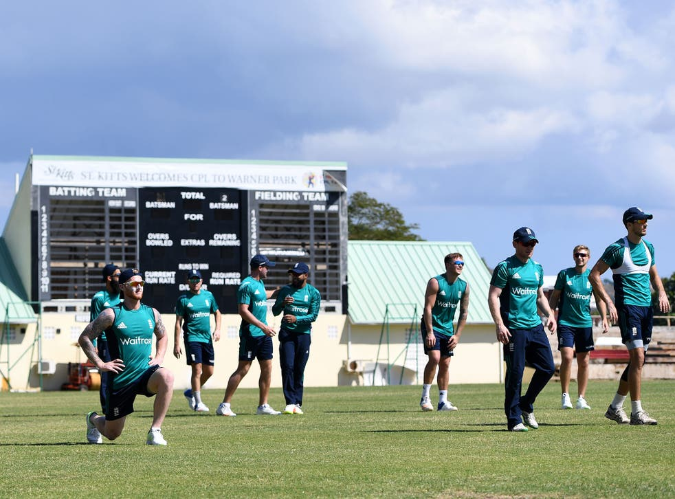 England's players warm up during a nets session at Warner Park on February 23, 2017
