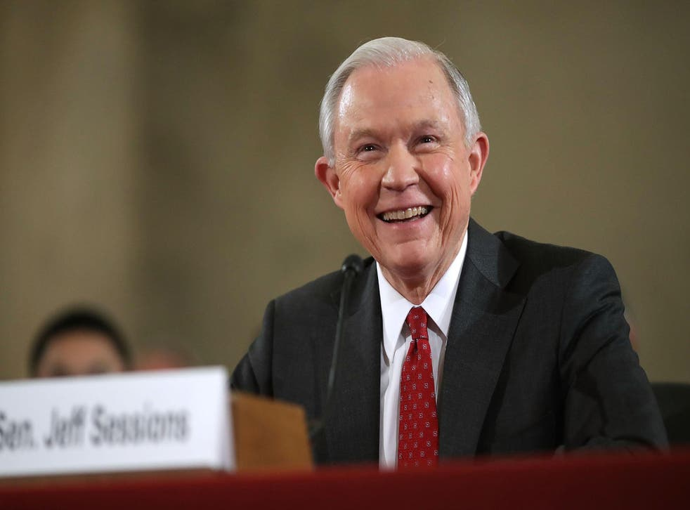 Jeff Sessions speaks at his confirmation hearing in Washington, DC.