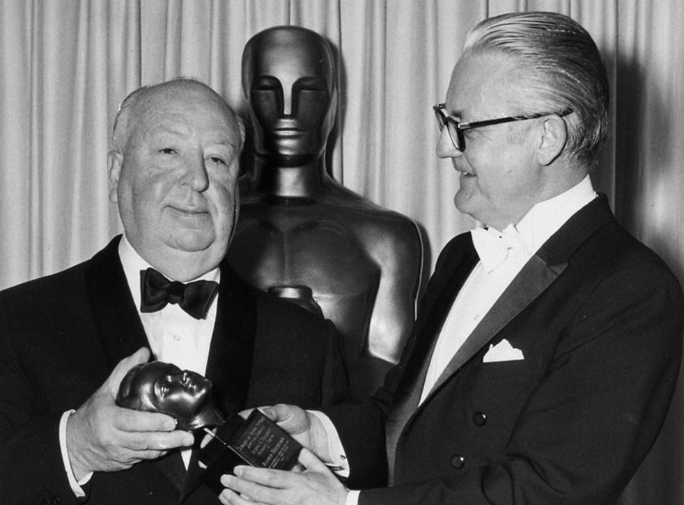 Alfred Hitchcock accepting the Irving G Thalberg Award from director Robert Wise at the 1968 Academy Awards. Hitchcock never won an Oscar for Best Director