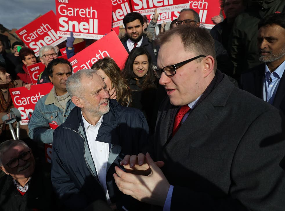 Jeremy Corbyn and newly elected MP for Stoke-on-Trent Central Gareth Snell after the latter's victory in the Stoke-on-Trent Central by-election