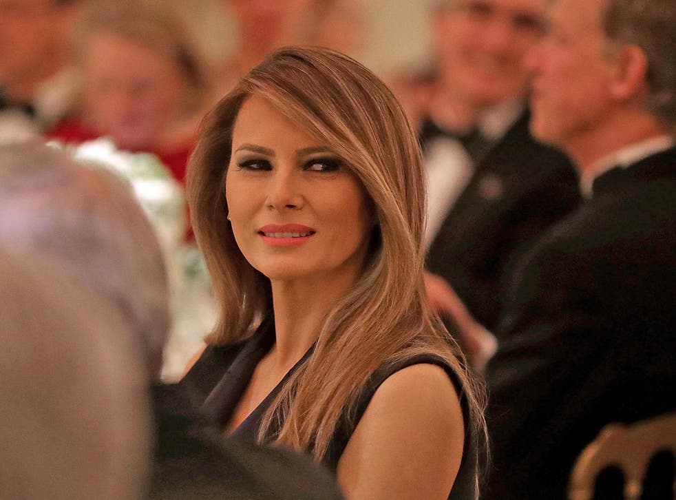 First Lady Melania Trump at a dinner in the White House