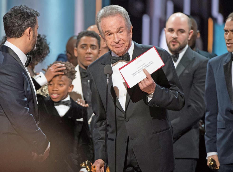Shocked faces on stage at the Oscars as the real winner of the Best Picture award is revealed