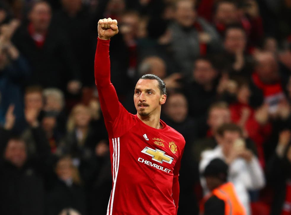 Ibrahimovic celebrates his opening goal for United in Sunday's EFL Cup final