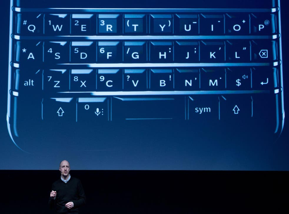 Senior product manager blackberry mobile Logan Bell speaks during a presentation to the new BlackBerry Key One at the Mobile World Congress centre in Barcelona