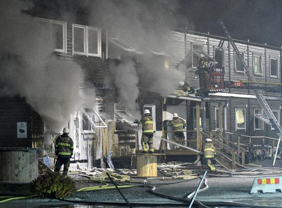 A picture from a fire at different refugee accommodation in Fagersjo, south of Stockholm, Sweden in October
