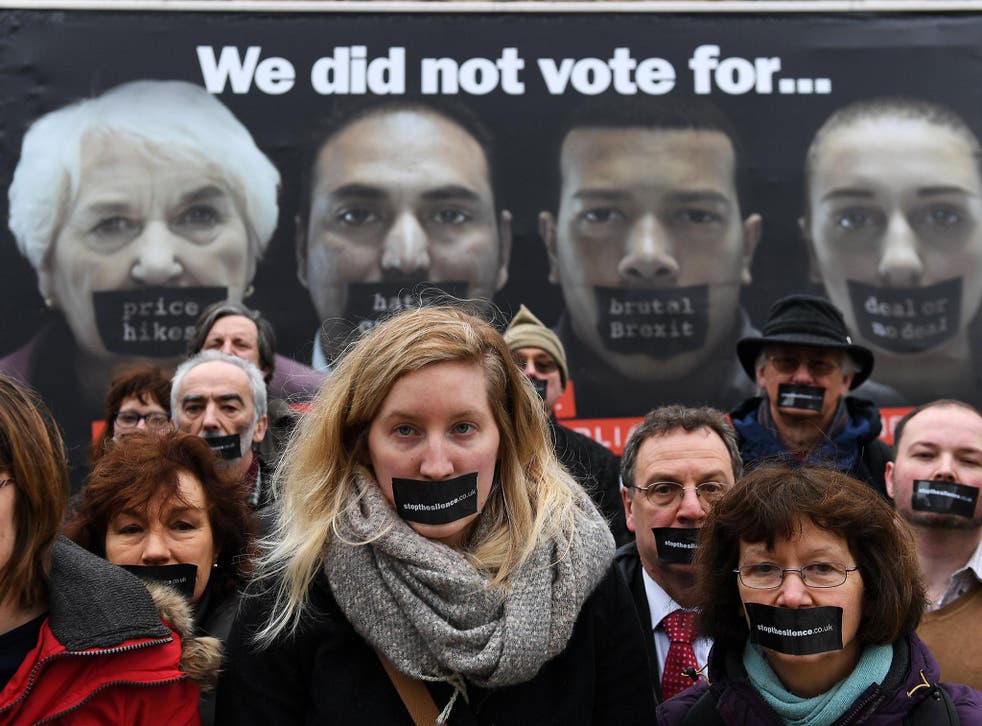 Stop the Silence campaigners launch a nationwide poster campaign outside Parliament calling for the Lords to make amendments to the Article 50 bill and for the public to speak out over the governments hard Brexit policy
