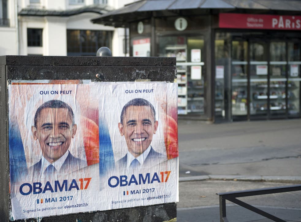 Obama 17 posters are seen displayed in Paris ahead of the Franch presidential election