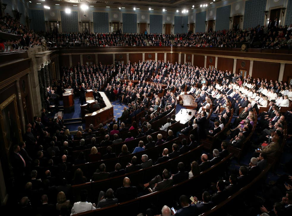 President Donald Trump delivers his first address to a joint session of Congress