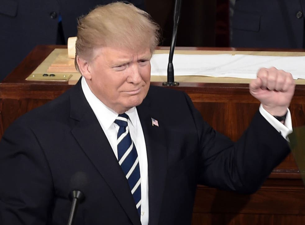 President Donald Trump arrives to address a joint session of the US Congress