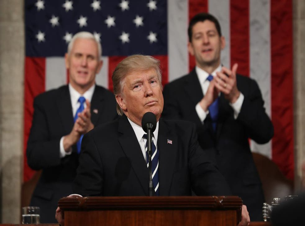 Donald Trump delivers his first address to a joint session of the US Congress on February 28, 2017