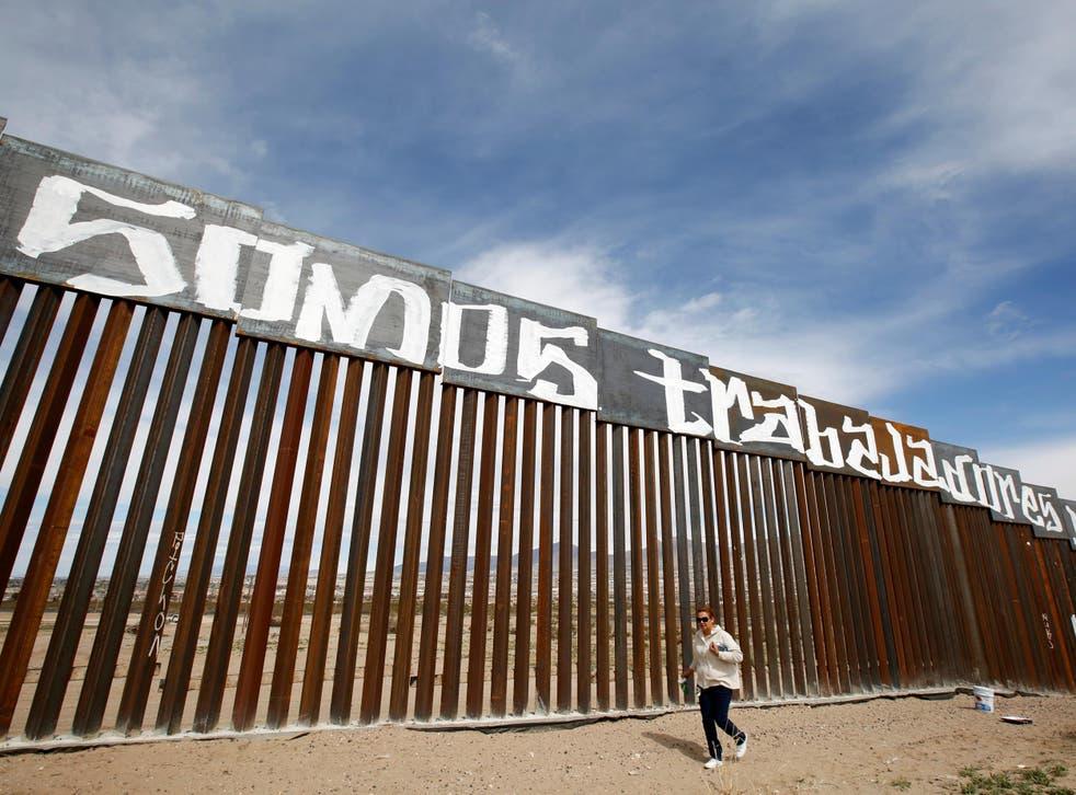 The US-Mexico border wall between Ciudad Juarez and New Mexico