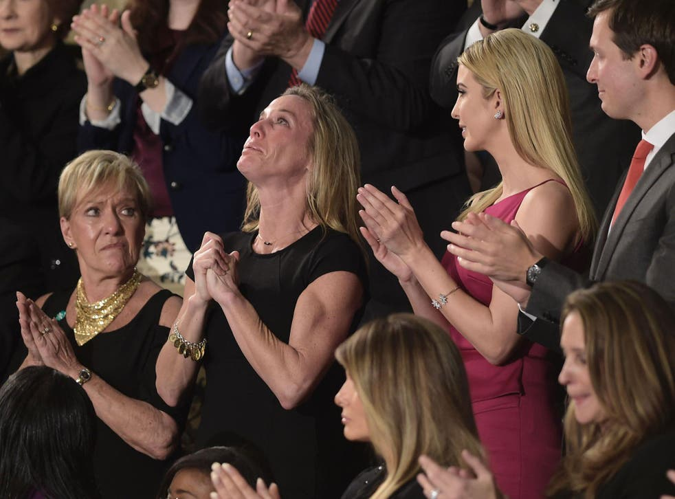 Carryn Owens, wife of Navy SEAL William 'Ryan' Owens, was a guest as US President Donald Trump recognised Mr Owens at a joint session of the US Congress