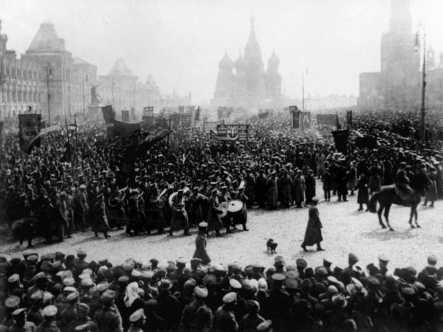 A parade and demonstration in Red Square, Moscow, to commemorate the First of May (Russia's Labour Day) in 1917
