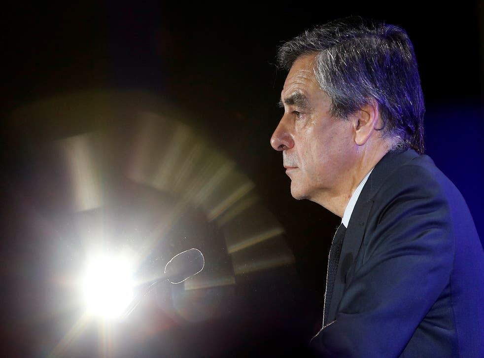 Francois Fillon attends a political rally in Nimes, France