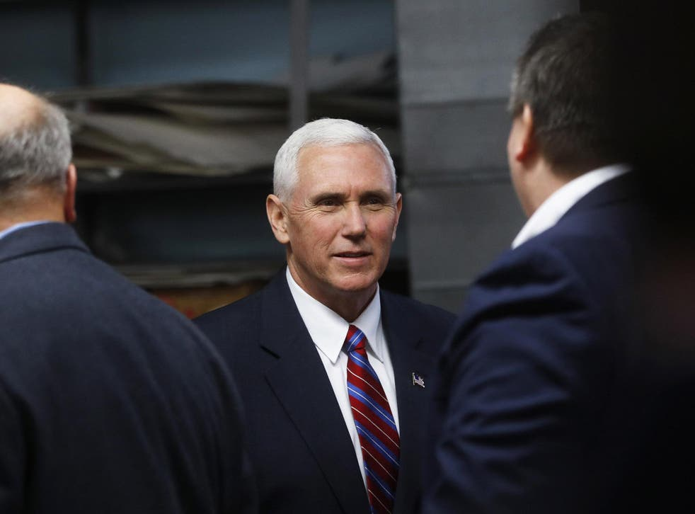 Vice President Mike Pence meets with small business owners at the Frame USA facility on March 2nd