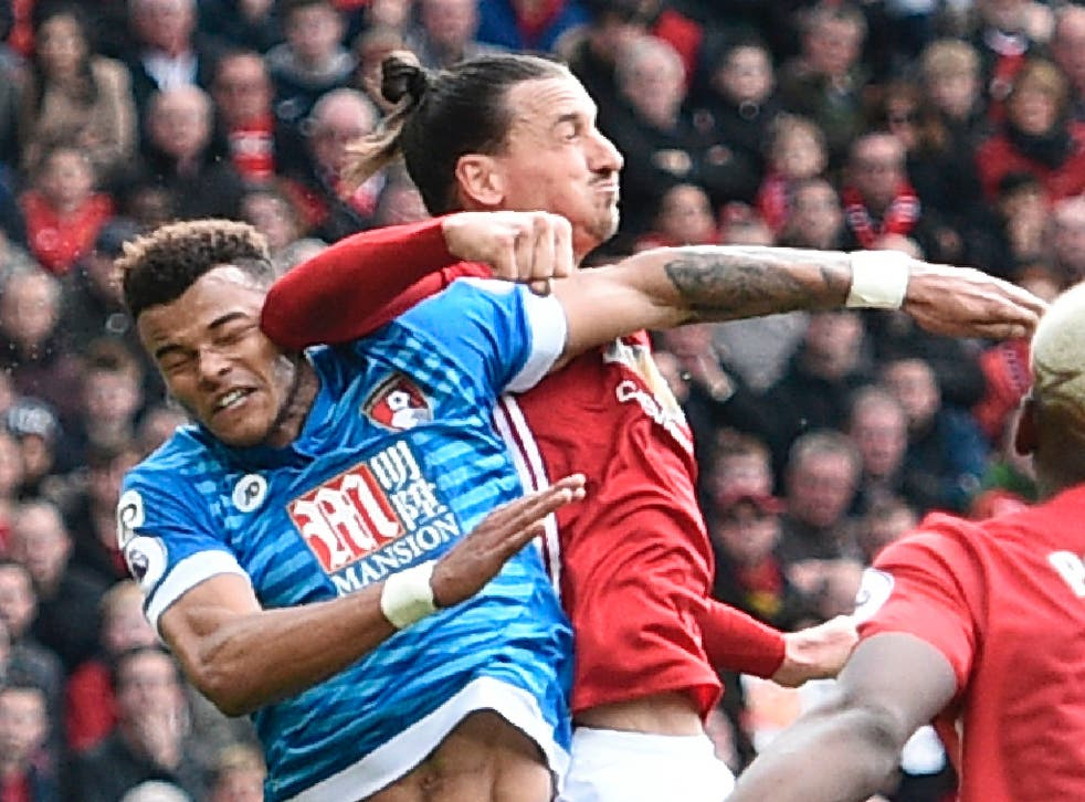 Zlatan Ibrahimovic appeared to elbow Tyrone Mings after the Bournemouth defender had stamped on his head