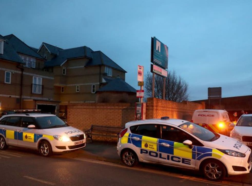 Police cordon at the scene in Sheerness, Kent where the baby was found