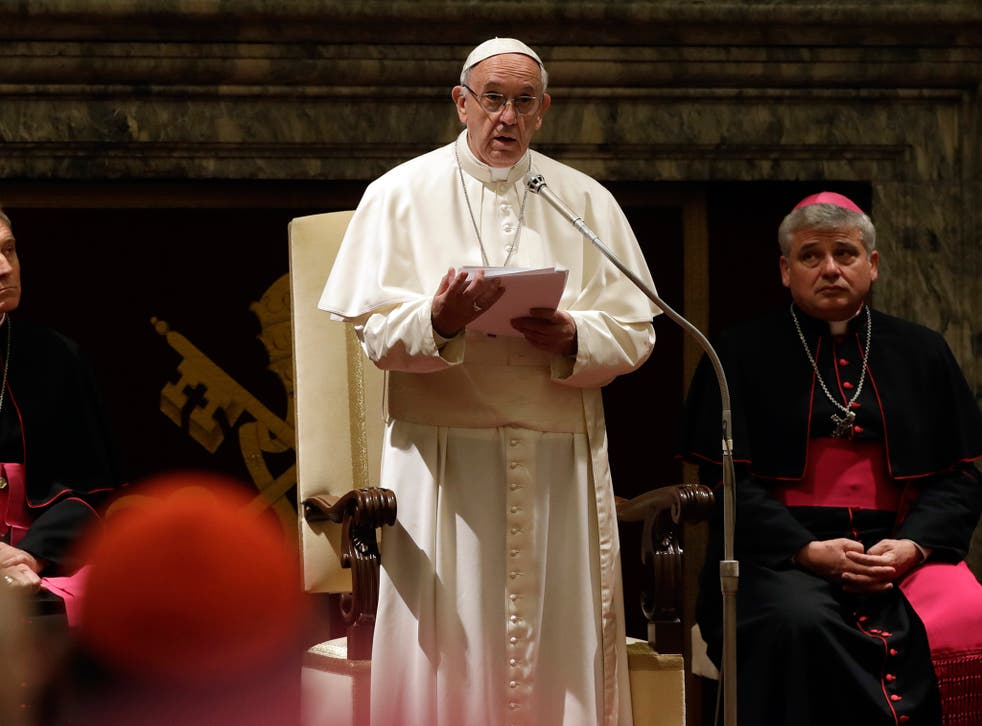 Pope Francis speaks on the occasion of his Christmas greetings to the Roman Curia in the Clementine Hall