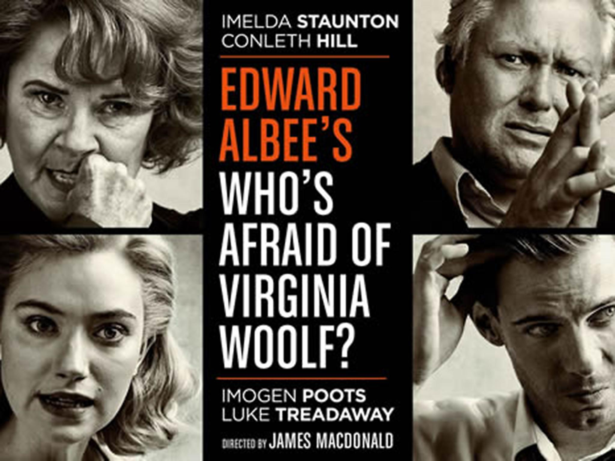 a review of edward albees whos afraid of virginia woolf We don't have the tradition of the alan smithee credit in the theatre if we did, this production of edward albee's who's afraid of virginia woolf would probably deserve one.