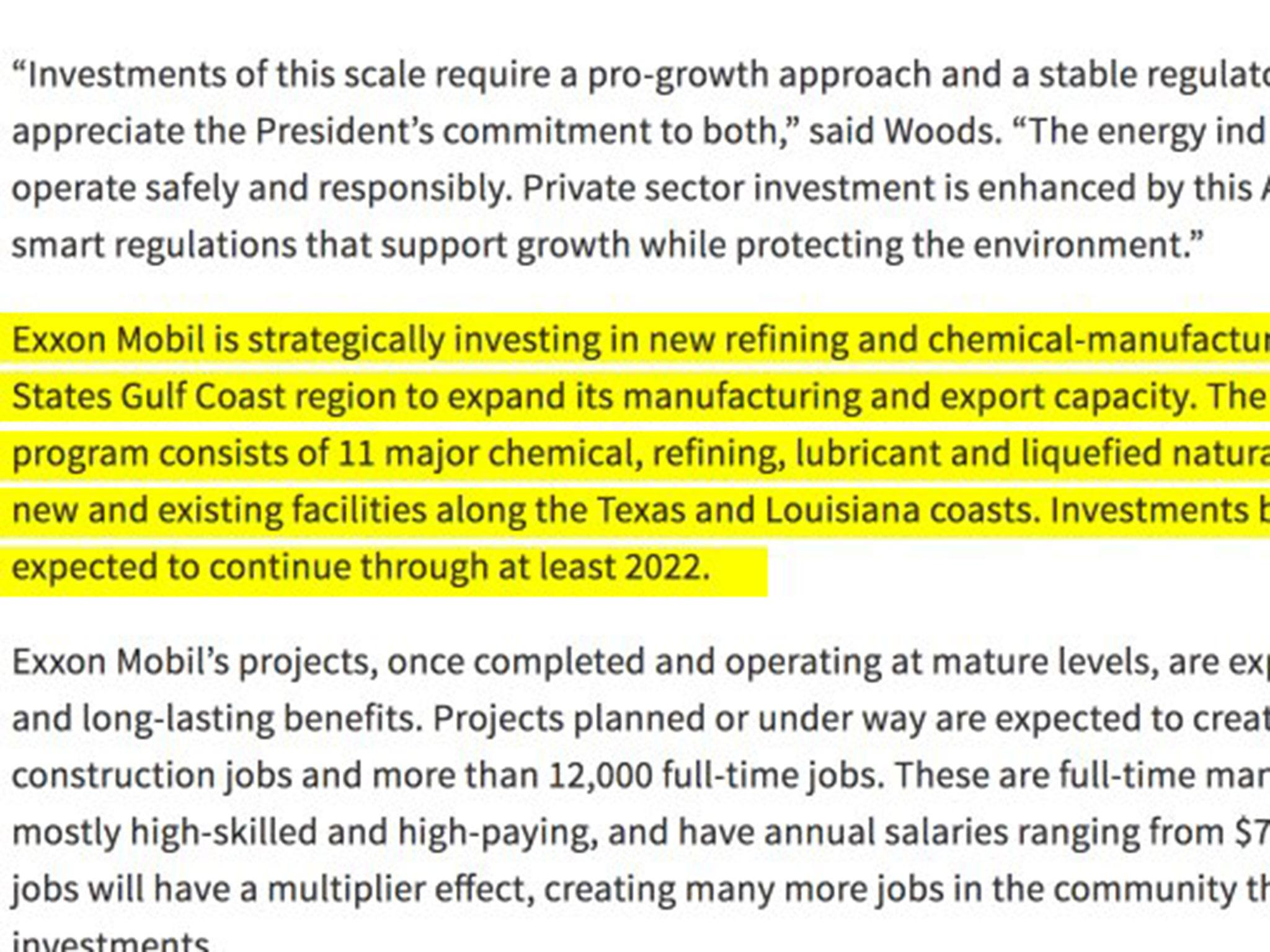 White House praises ExxonMobil with a paragraph copied and pasted from an Exxon press release