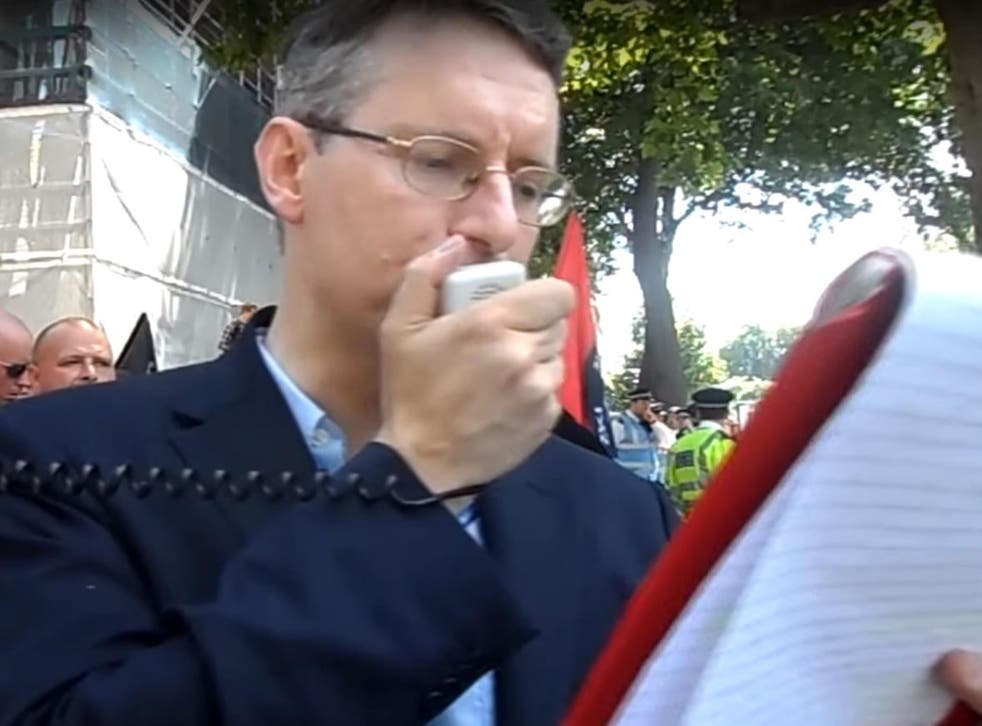 Jeremy Bedford Turner addresses the small protest outside Whitehall in July 2015