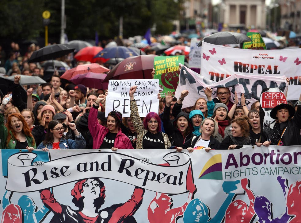 Demonstrators urge the Irish Government to repeal the 8th amendment to the constitution, which enforces strict limitations to a woman's right to an abortion, in Dublin last September