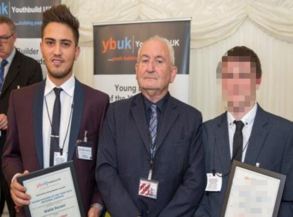 Walid Durani (left) met The Big Issue founder Lord Bird after being commended in the Young Builder of the Year Awards