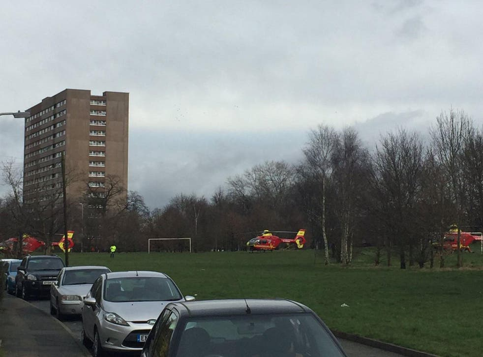 Three air ambulances flew to the scene, and took one woman in a critical condition to Birmingham